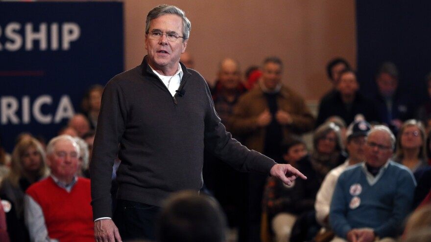 Former Florida Gov. Jeb Bush speaks at a campaign event Monday in Portsmouth, N.H.