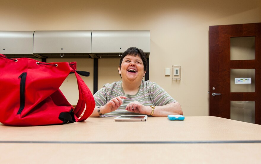 Debbie Eagle, a 43-year-old who has been blind since birth, says she can't find work, even though she has a bachelor's degree in special education. She volunteers at the Center for Individuals with Physical Challenges in Tulsa.