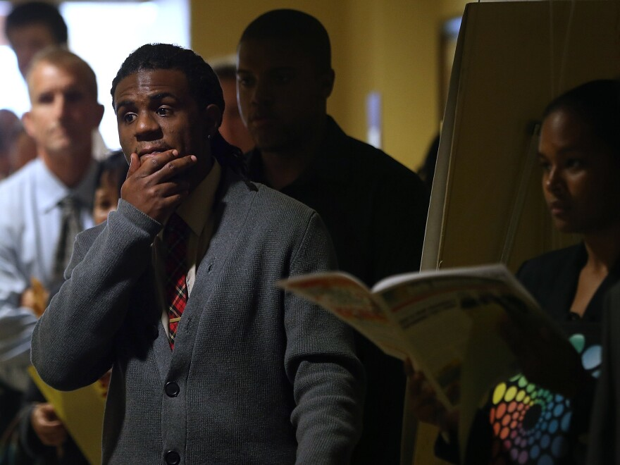 Looking for work: The scene at a job fair in Emeryville, Calif., last month.