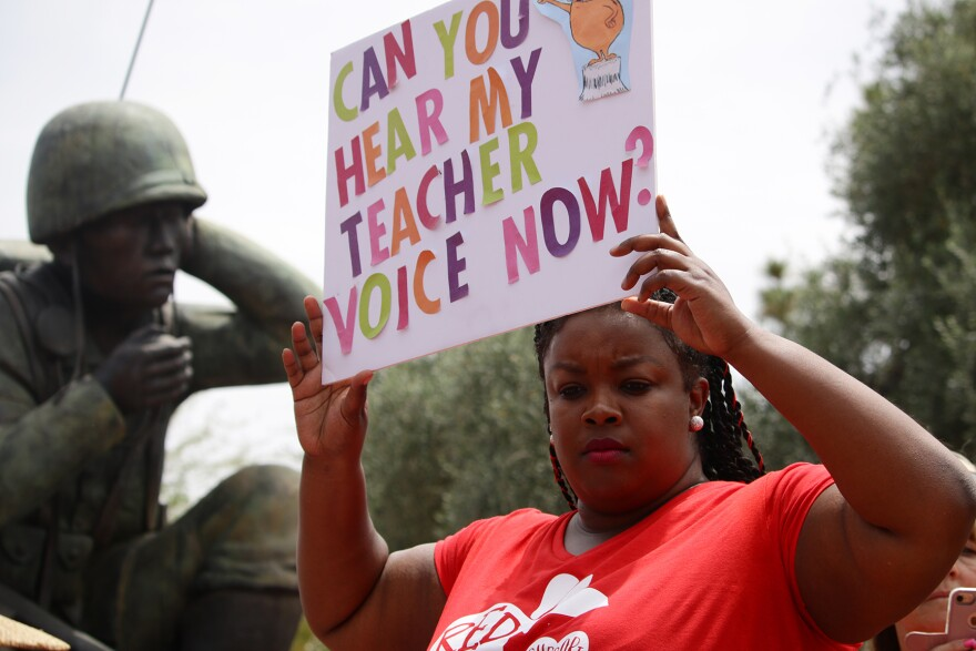 In April, public school teachers in Arizona protest for more school funding and higher teacher wages.