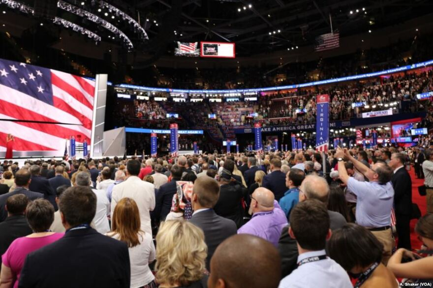 Hundreds of delegates gather on the floor of the 2016 Republican National Convention.