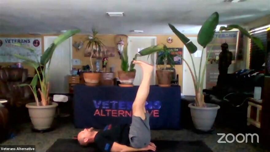 screenshot of virtual yoga class offered by Veterans Alternative