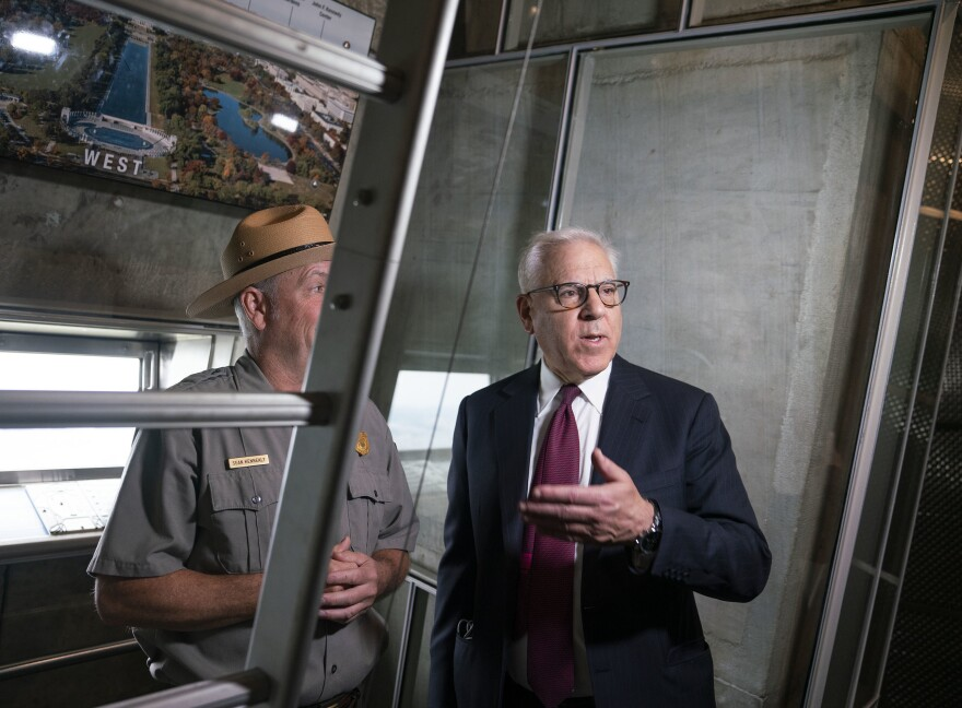 Rubenstein received a private tour ahead of the Washington Monument's reopening. The philanthropist donated $3 million to renovate the elevator.