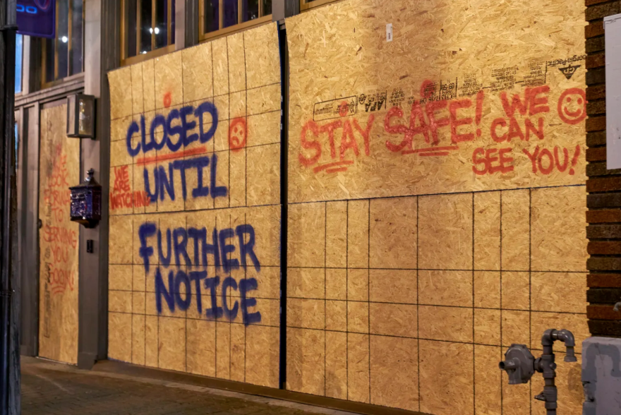 Closed businesses in the Deep Ellum area of Dallas on March 31, 2020.