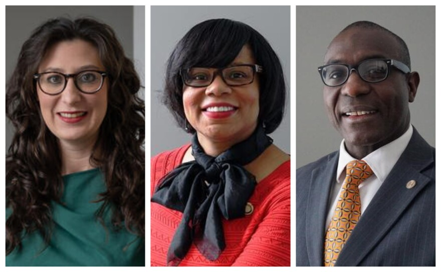 From left, Megan Green, Jamilah Nasheed and Lewis Reed are contenders for aldermanic president in St. Louis' upcoming Democratic Primary, which is March 5.