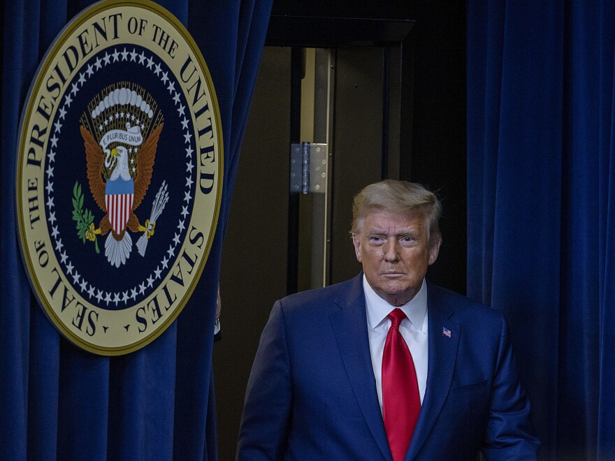 President Trump, seen here Tuesday in Washington, D.C., saw his effort to overturn last month's election all but snuffed out Friday night by the Supreme Court.