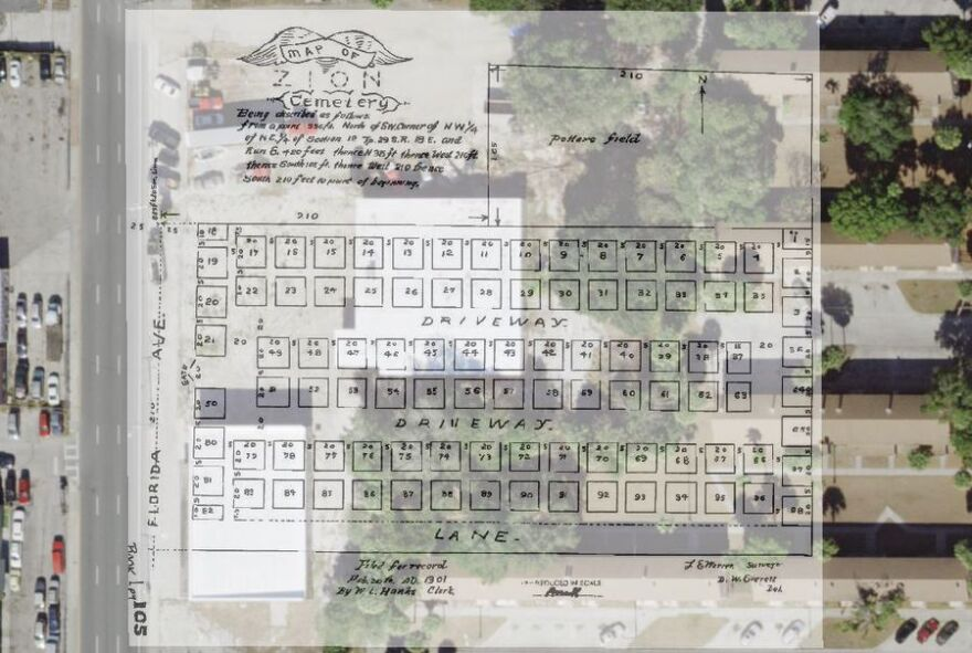 A 1901 map laying out the graves in Tampa's Zion Cemetery is set over a current satellite view of the property, which includes two private businesses and a number of buildings in the Robles Park Village housing complex.