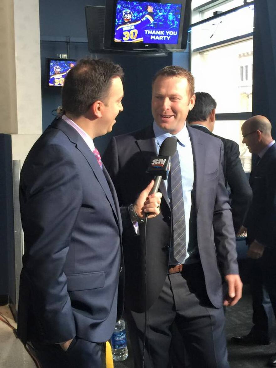 Martin Brodeur and reporter