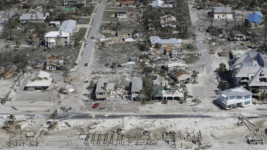An aerial view of Mexico Beach, Fla. homes destroyed by Hurricane Michael.