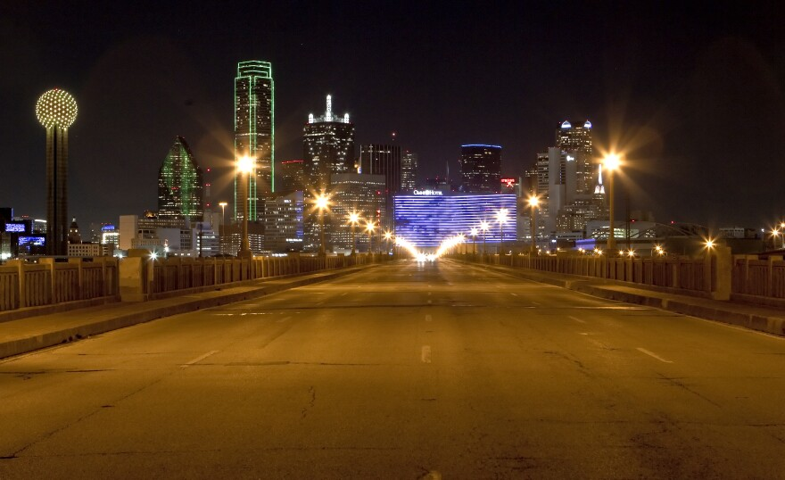 The Dallas skyline from the Houston Street viaduct in 2012.