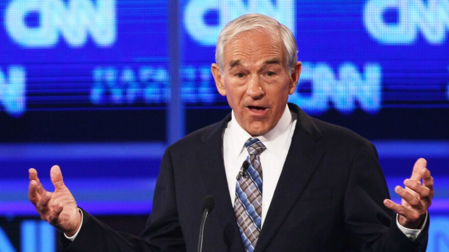 Republican presidential candidate Rep. Ron Paul speaks during the presidential debate sponsored by CNN and The Tea Party Express at the Florida State fairgrounds on September 12, 2011 in Tampa, Florida.