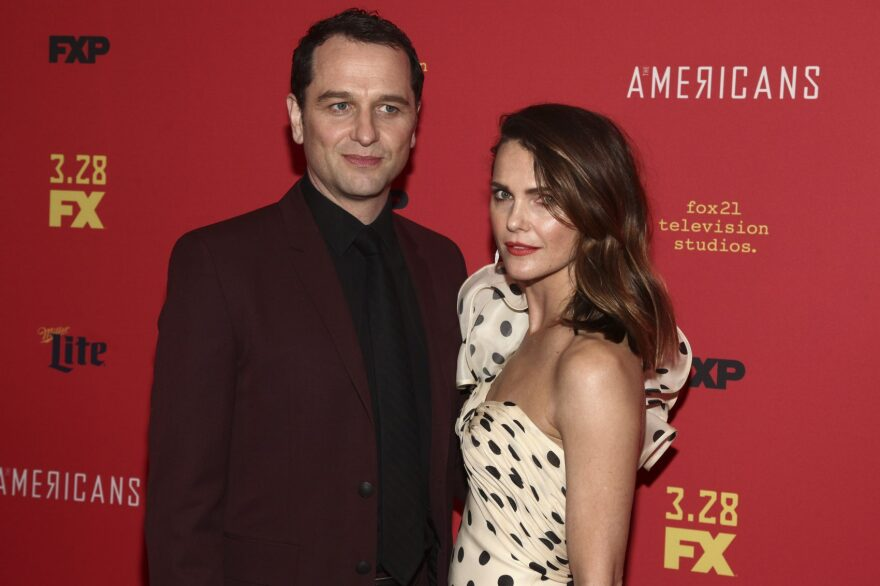 """Keri Russell, right, and Matthew Rhys attend the premiere of FX Networks' """"The Americans"""" final season at Alice Tully Hall on Friday, March 16, 2018, in New York. (Andy Kropa/Invision/AP)"""