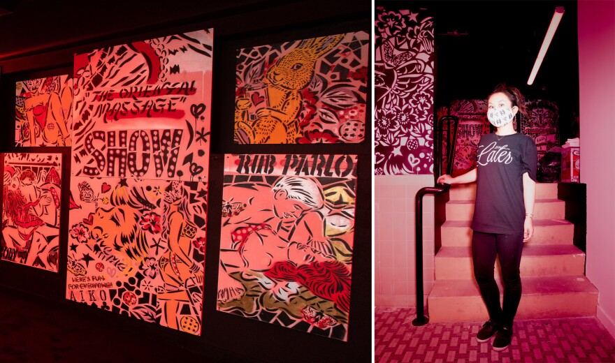 Left: AIKO's<strong> </strong>red-light district room is filled with erotic, comic book-like images. Right: AIKO (pictured) has shown her work in Rome, Shanghai and New York, where she's now based.