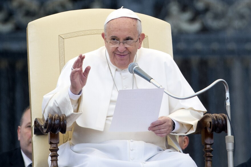 Pope Francis speaks during his weekly general audience in St. Peter's Square at the Vatican on Wednesday. ANSA, the Italian news agency, is reporting that the pope's doctors have urged him to reduce his pasta consumption.