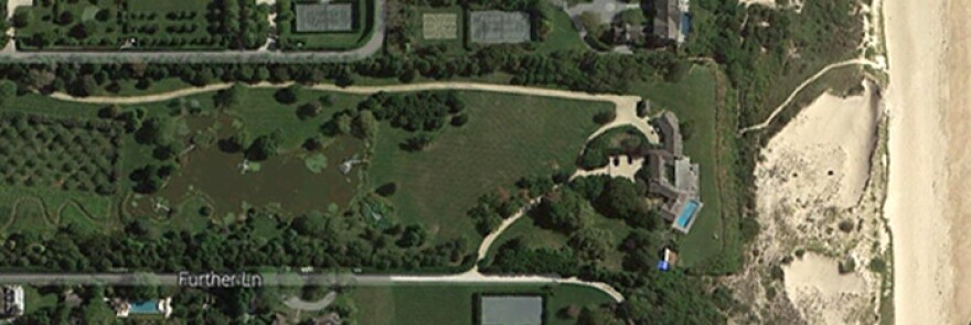 A satellite image depicts a beachfront estate that reportedly sold for $147 million in East Hampton, N.Y.