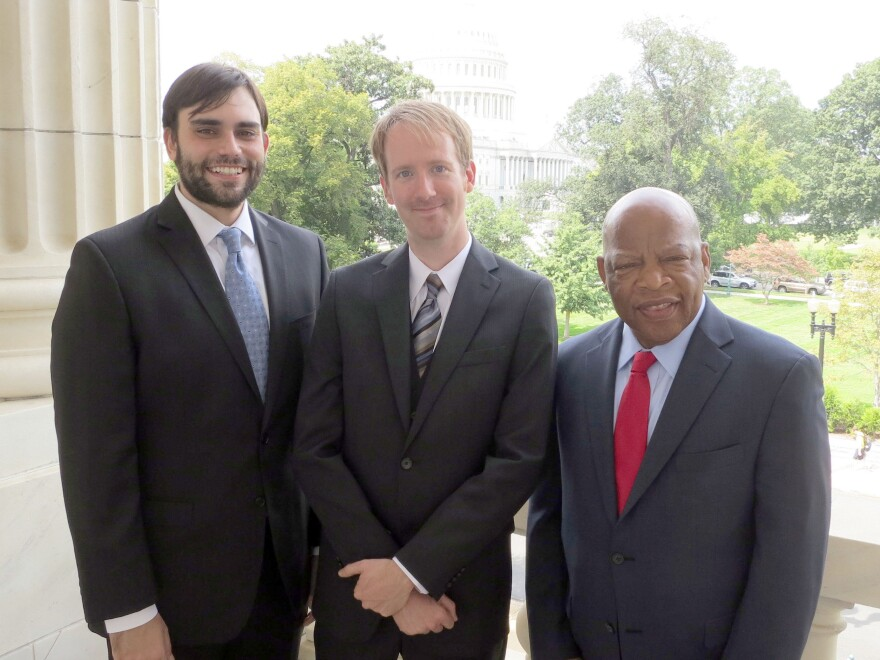 John Lewis (right) is a civil rights leader, currently a member of the U.S. House of Representatives for Georgia. Andrew Aydin (left) serves in his office and co-authored <em>March: Book One </em>with Lewis. Nate Powell (center) is a graphic novelist, whose previous works include <em>Swallow Me Whole</em> and <em>The Silence of Our Friends.</em>