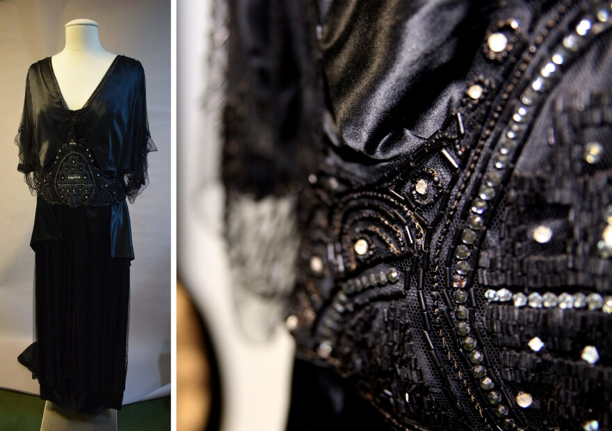 A black silk satin and tulle evening dress designed by Madeleine Vionnet.