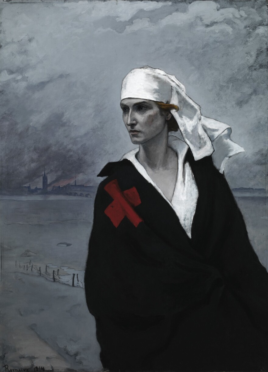 Brooks sold reproductions of her 1914 <em>La France Croisée </em>to raise money for the Red Cross during World War I.