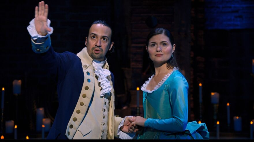 Lin-Manuel Miranda and Phillipa Soo return as Alexander and Eliza Hamilton, the roles they played in the original Broadway production of <em>Hamilton</em>. A film production of the show, taped in 2016, debuts on Disney+ on Friday.