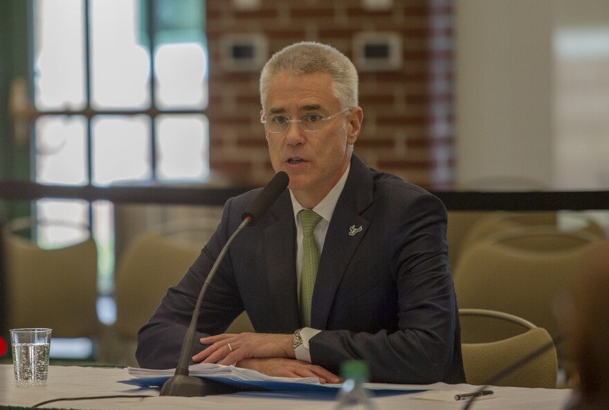Steven Currall speaks to the USF Board of Trustees Friday afternoon.