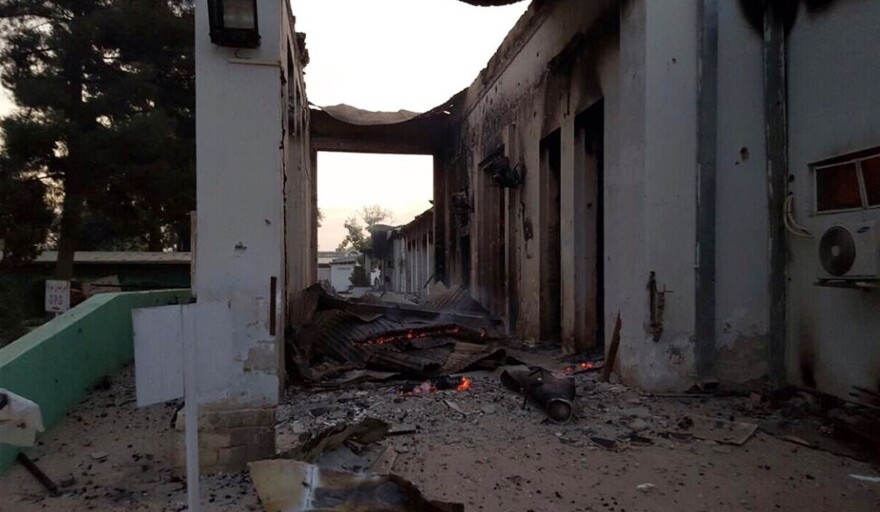 The charred remains of the Doctors Without Borders hospital is seen after being hit by a U.S. airstrike.