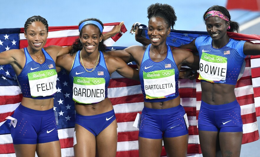 The U.S. women won the 4x100-meter relay on Friday night in Rio. From left, Allyson Felix, English Gardner, Tianna Bartoletta and Tori Bowie ran a time of 41.01, the second-fastest ever. Felix won the fifth gold medal of her career, the most ever by a woman track athlete.