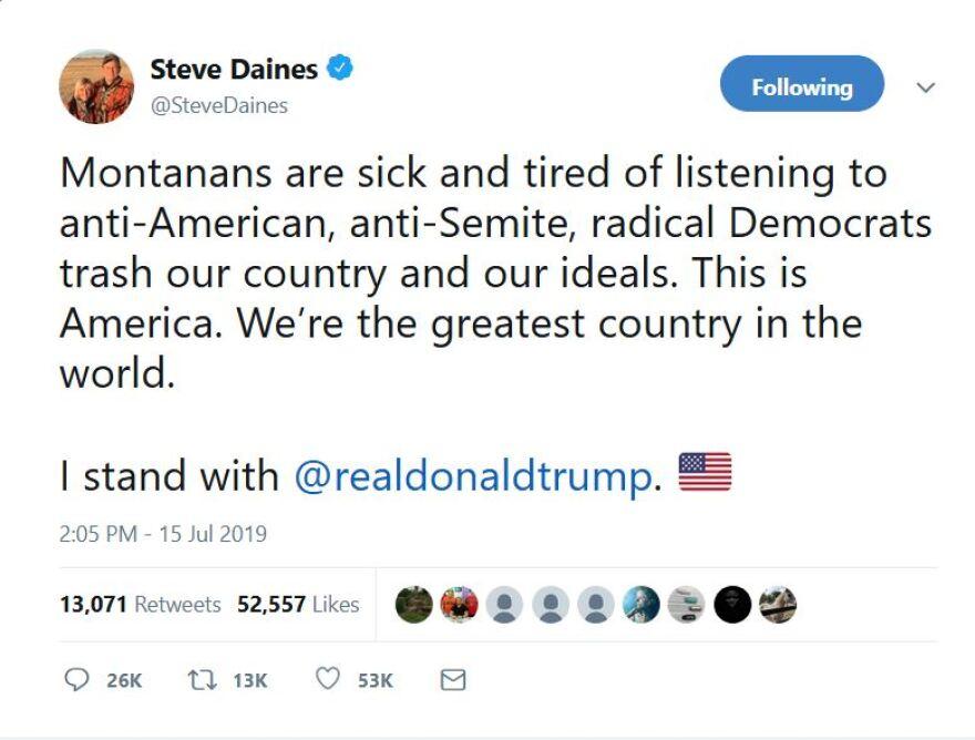 A screenshot of a Twitter post from Montana Senator Steve Daines