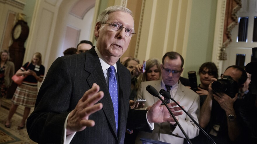 Senate Majority Leader Mitch McConnell speaks to reporters on Capitol Hill on Tuesday. He is expected to end the judicial filibuster in a bid to confirm Supreme Court nominee Neil Gorsuch.
