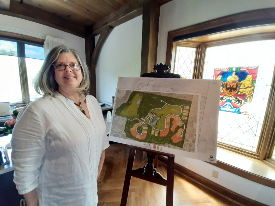 Leslie Aberlin with the plans for Aberlin Springs.  Construction of Phase Two of the agrihood is underway.