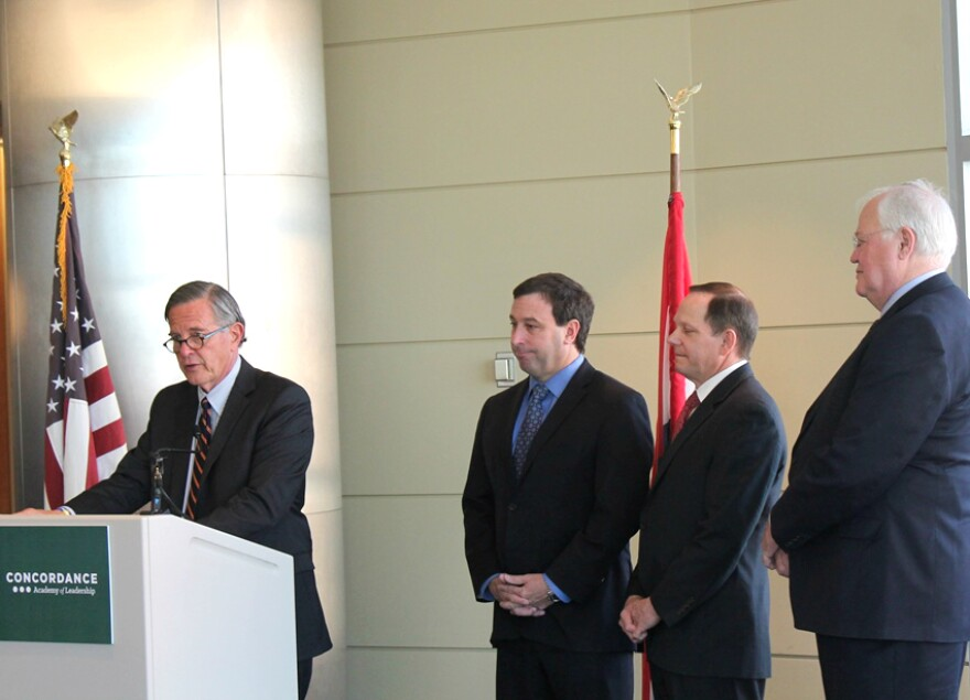 Concordance Academy president Danny Ludeman announces that (from left) St. Louis County executive Steve Stenger, St. Louis mayor Francis Slay, and St. Charles County executive Steve Ehlmann have committed $2 million to his program over the next three year