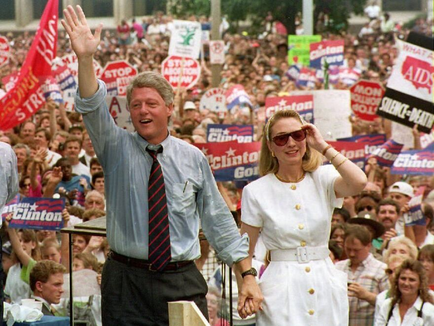 Bill and Hillary Clinton campaign in St. Louis in 1992 before a crowd of 40,000.
