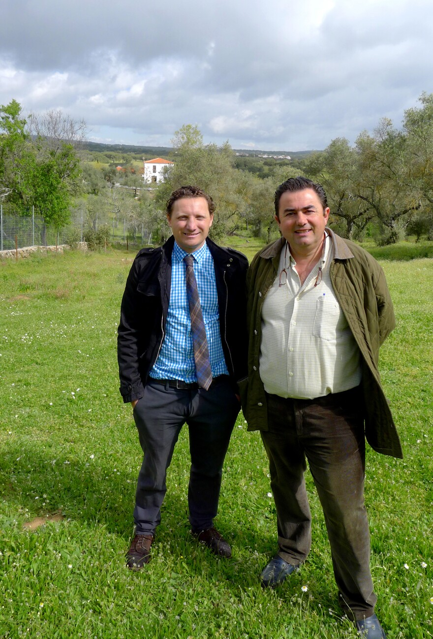 Diego Labourdette (left) and Eduardo Sousa are business partners — together they run a 1,200-acre goose farm just outside of Pallares, Spain.