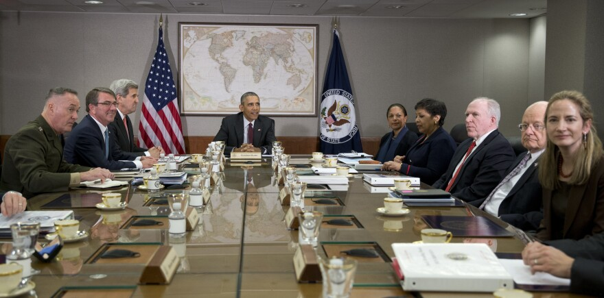 President Barack Obama hosts a meeting of his National Security Council in 2016. Avril Haines, deputy national security advisor, is on the far right.