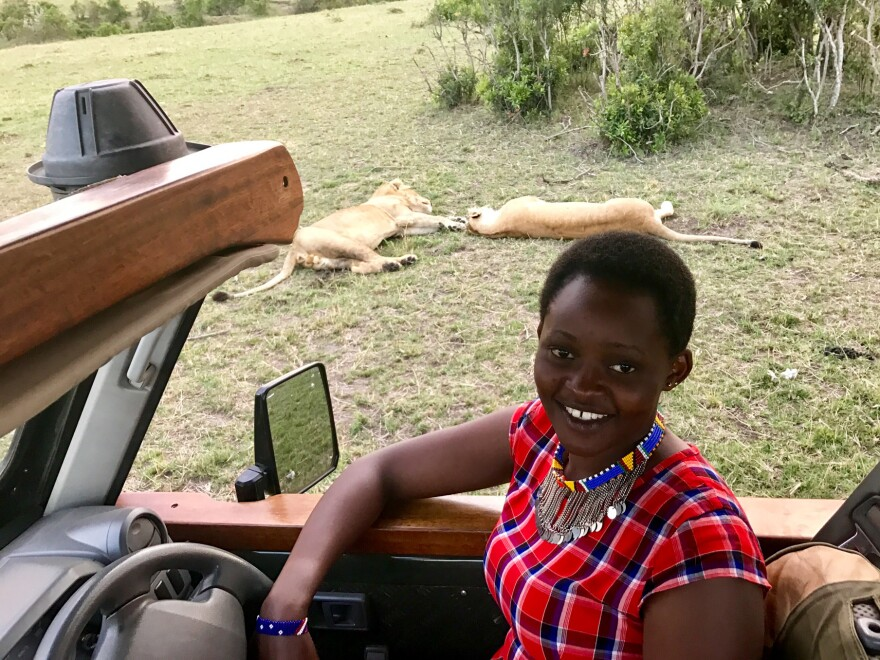 Lucy Nabiki Takona of the Masai community is a female safari guide in a male-dominated profession. Men don't always think she can handle the job, but she just forges ahead.