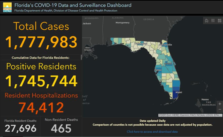 screen grab of Florida totals of coronavirus cases
