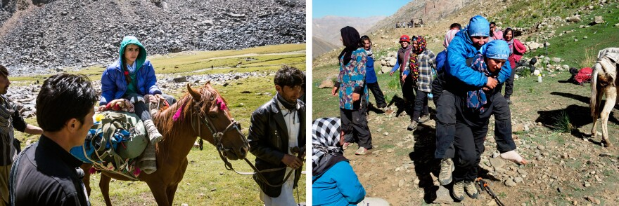 At left, 17-year-old Diba Azizi, bandaged up post-fall, is taken down on a horse. At right, Zahra Karimi Nooristani carries her sister, Rabia, on her back after Rabia fell during the descent, suffering a hairline fracture.