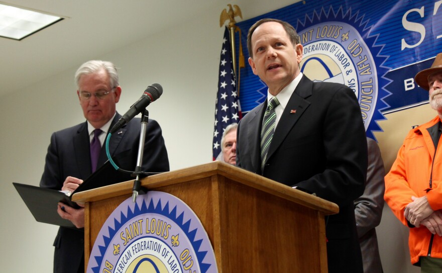 St. Louis Mayor Francis Slay talked of 24-hour shifts to build a riverfront stadium at a conference last year.