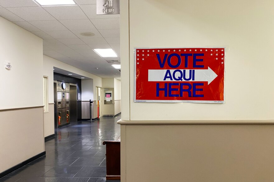 A sign directs people to vote at the Northampton County Offices in Easton, Pa.
