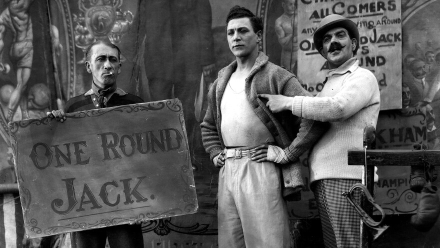 """Carl Brisson stars as sideshow boxer """"One Round Jack"""" in Alfred Hitchcock's 1927 film <em>The Ring</em>. That and eight more of the master's early silent features have restored by the British Film Institute."""