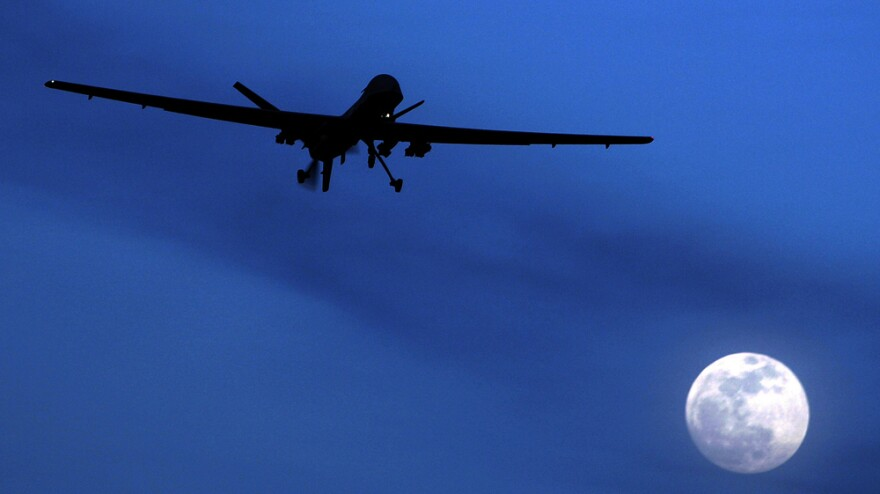 In the decade since the attacks of Sept. 11, the number of drone strikes into Pakistan has grown dramatically. In January 2010, a U.S. Predator drone flies above the Kandahar Air Field in southern Afghanistan.