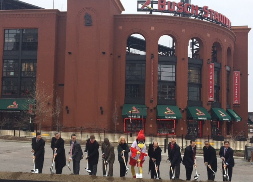 Fredbird and other dignitaries dig in at the ceremonial groundbreaking for phase two of Ballpark Village, across from Busch Stadium, on Dec. 14, 2017.