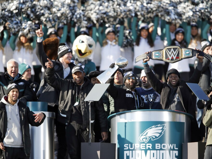 Philadelphia Eagles pictured celebrating their Super Bowl victory in a February parade, have been uninvited by President Trump to a celebration at the White House.