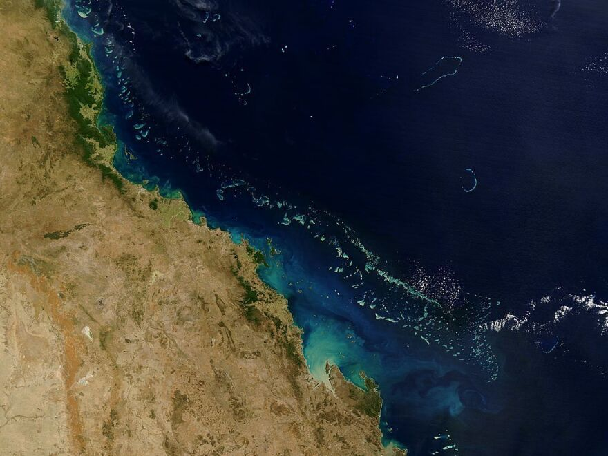 The white calcium carbonate that coats the coral of the Great Barrier Reef reflects light, making the water above the reef appear bright blue from space. This phenomenon allows the reef to be visible in satellite images, such as this one, acquired by the Moderate Resolution Imaging Spectroradiometer on NASA's Terra satellite in August 2004.