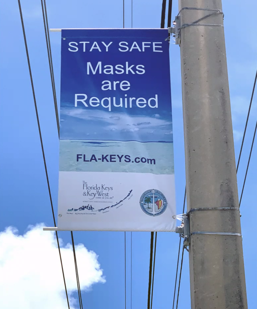 Banners about coronavirus precautions are going up along the Overseas Highway and in Key West.