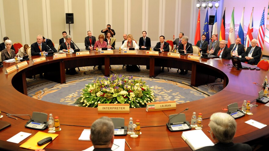 The negotiating table in Almaty, Kazakhstan, where the U.S. and other nations are talking with Iran about that nation's nuclear ambitions.