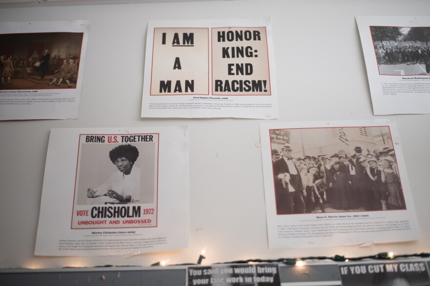Black History posters are seen hanging in the classroom of Joseph Kibler on August 11, 2021 at Hazelwood West High School in Hazelwood, Missouri. (Photo by Michael B. Thomas for St. Louis Public Radio).