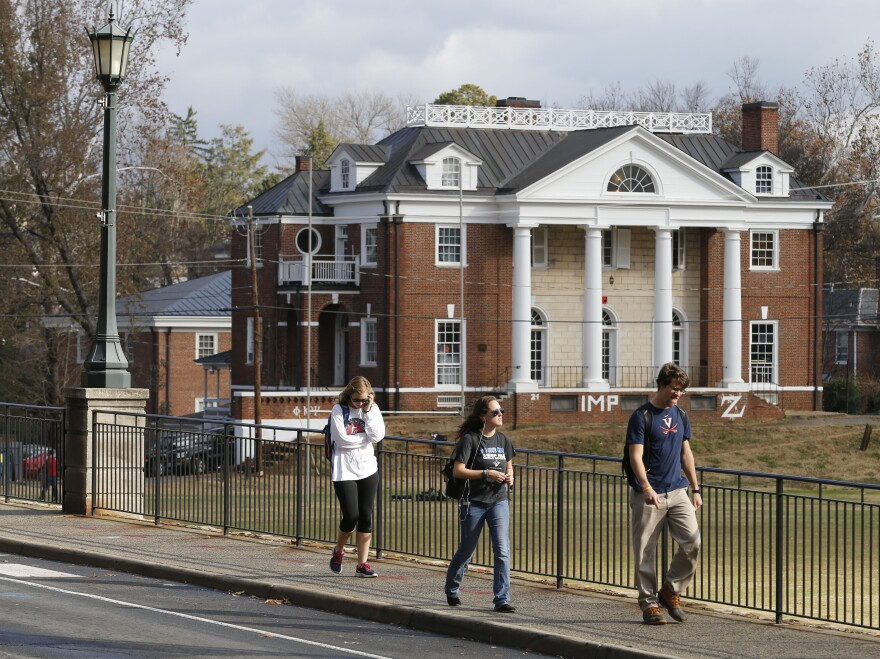 The Phi Kappa Psi fraternity house at the University of Virginia in Charlottesville, Va. That fraternity was implicated in a now discredited <em>Rolling Stone</em> story about a rape on campus. A dean named in the piece is suing the magazine for $7.85 million. Phi Kappa Psi says it will also sue the magazine.