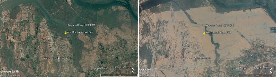 Mangroves (green) were plentiful in this Google Earth image from Nov. 12, 2003 showing the site of the future Navi Mumbai International Airport (left). By Nov. 12, 2019 (right), the development work for the airport had wiped out hundreds of acres of mangroves.