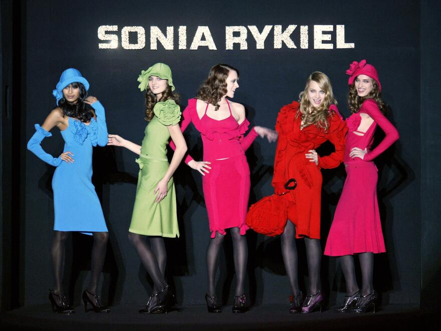 Models wear creations by Rykiel during Paris Fashion Week in 2004.