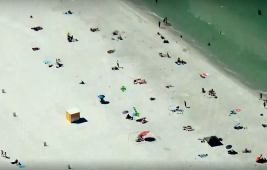 In an aerial video shown by Pinellas County Sheriff Bob Gualtieiri to the County Commission, people on Clearwater Beach Thursday practice safe spacing to prevent the spread of coronavirus. Commissioners still voted to close beaches at 11:59 p.m. Friday.